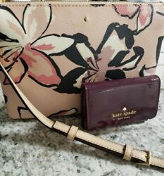 Kate Spade Triple Gusset Pink Floral Leather Crossbody amp; Small Patent Wallet $60.00
