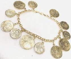 """14k Solid Yellow Gold Euro Coins 8"""" Inch Coin Rolo Link Chain Charm Bracelet"""
