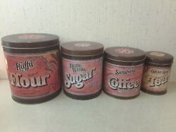 Vintage Fluffy Flour Advertisement Tin Kitchen Canisters