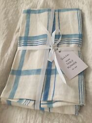 """Sur La Table Runner, Jacquard Cotton, French Blue And White Plaid 108"""", New"""