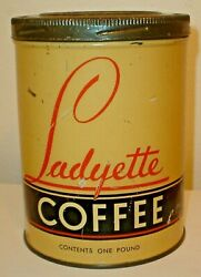 Scarce Vintage Ladyette Coffee Tin One Pound Tall Coffee Can W/ Original Lid