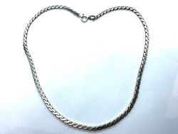 """Vintage Solid Sterling Silver Serpentine Link Chain Necklace 16"""" - 23.5 Grams"""