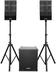 Subwoofer 1200w Powered Speaker System Bluetooth Usb Sd Dual Microphone