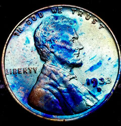 1933 D Lincoln Wheat Penny Cent- Beautiful Toning Superb Gem High Ms Grade 02
