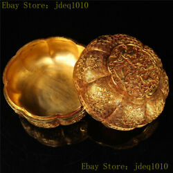 5.12collection Chinese Pure Copper Gilt Hand Carving Animal Pattern Jewelry Box