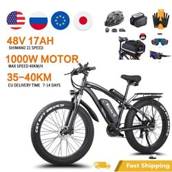 Electric Bicycle 1000w 48v17ah E Bike 26 Inch 4.0 Fat Tire 21 Speed.