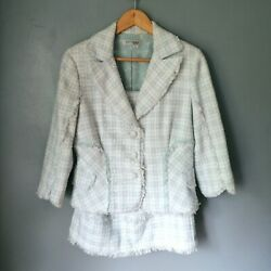 Kay Unger Boucle Tweed Silk Lined Skirt Suit Size 12/14 Uk