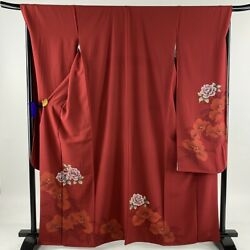 Furisode Near Mint Excellent Quality Rose Gilded Red Length165 Sleeve Length...