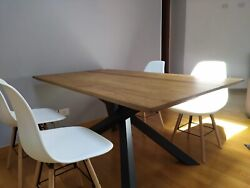 Table Solid Wood Oak With Knots With Base Metal Finished Wheat Various Sizes