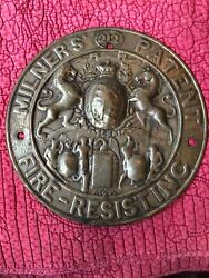 Antique Stamped Brass Milners' Patent Fire-resisting Safe Plaque Round Sign