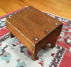 Aafa Unusual Antique Maine Carved Accented Mixed Wood Foot Stool