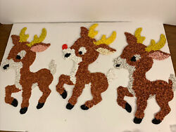 3-vintage Melted Plastic Popcorn Deer Rudolph Red Nosed And Reindeers Kage Co.