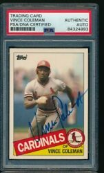 1985 Topps Traded 24t Vince Coleman Cardinals Signed Autograph Psa/dna Centered