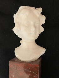 Auguste Henri Carli French 1868-1930 Bust Of A Girl Alabaster, Marble C 1900