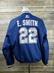 Emmitt Smith 22 Starter Vtg 90s Spell Out Dallas Cowboys Jacket Adult Size L