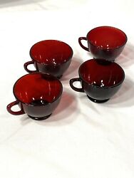 Four Vintage Dark Red Ruby Coffee Tea Punch Cups Depression Glass