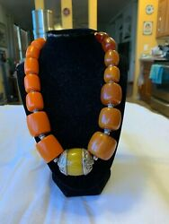 Necklace-african Amber Phenolic Resin-sterling Silver