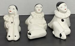 3 Vtg Pierrot Mime Clown Small Figurines Black amp; White Made In Taiwan
