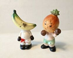 Vintage Anthropomorphic Napco Boxing Boxer Fruit Salt And Pepper Shakers 1956
