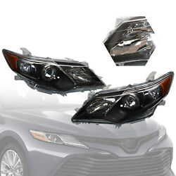 For Pearl Black 2012 2013 2014 Toyota Camry Headlights Headlamps LeftRight