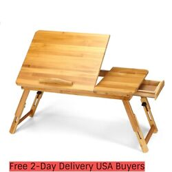 Kadell Adjustable Wood Bed Tray Lap Desk Serving Table Folding Legs Bamboo