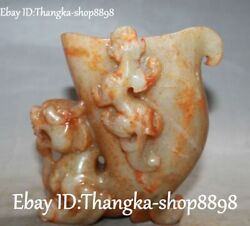 Chinese Ancient Old Jade Carving Dragon Loong Pixiu Brave Troops Beast Cup Cups