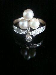 Edwardian Art Deco French 18ct Yellow Gold Cultured Pearl And Diamond Ring
