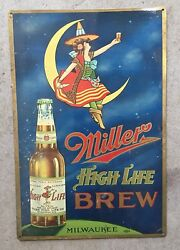 Miller High Life Beer Girl On The Moon Milwaukee Wisconsin Wi Vintage Steel Sign