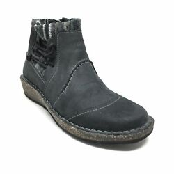 Women's Aetrex Wedge Ankle Boots Booties Shoes Size 35 Eu/5-5.5 Us Black Leather