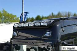 Roof Bar Black + Led Spots + Clear Beacons For New Gen Scania R And S 17+ High Cab