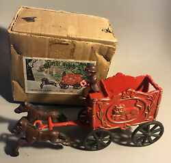 Vintage Cast Iron Circus Wagon Carriage Toy Reproduction With Box
