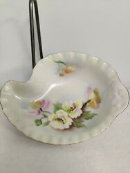 Lefton China Hand Painted Bowl To A Wild Rose Design Shell Shaped Dish Ne2602