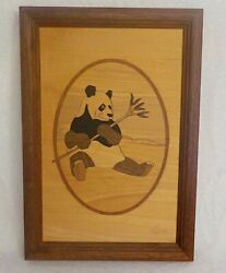 Hudson River Inlay Panda Bear Framed Art Marquetry By Jeff Nelson Vintage