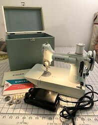 Vintage Singer Featherweight 221 K Sewing Machine With Portable Carrying Case