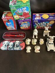 Vintage 1996 Disney 101 Dalmations Snow Globes Dogs Lot / Set Of 4 And Toys
