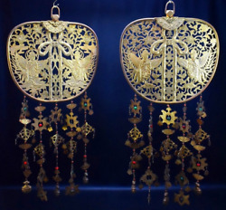 Japanese Vintage Keman Pair Copper Buddhist Decoration From A Temple
