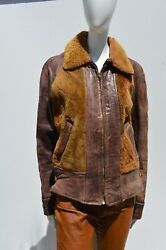 Vintage 30-s 40's Grizzly Leather Jacket Small Woman's Size Shearling Front Zip