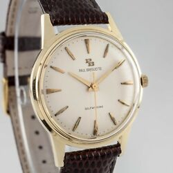 14k Yellow Gold Vtg Paul Breguette Automatic Watch W/ Brown Leather Strap