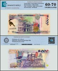 Suriname 5000 Gulden Banknote 1999 P-143b Unc Tap 60 - 70 Authenticated