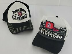 2 Mlb St. Louis Cardinals Caps 2011 2013 World Series Champions Stretch Fit Hat