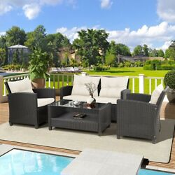4 Pieces Furniture Rattan Set For Patio Chair Sofa Cushions Storage Glass Table