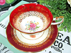 Queens Tea Cup And Saucer Red Gold Gilt Rose Marriage Set Teacup Elizabethan
