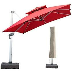 10 Ft Square Cantilever Umbrella With Cover 360 Degree 10 X 10 Ft Square Red