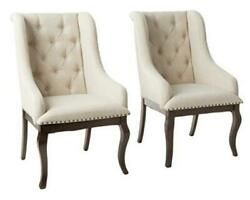 Glen Cove Arm Chairs With Button Tufting And Nailhead Trim Antique Java And