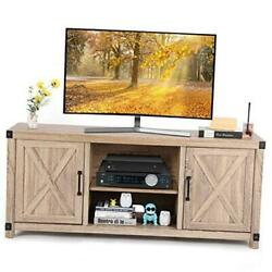 Tv Console Cabinet For Tvs Up To 65 Inch W/media Shelves, Farmhouse Tv Stand