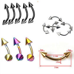 Stainless Steel Spike Curved Ear Stud Eyebrow Ring Body Piercing Jewelry Tbp F0