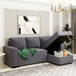 L-shaped Sofa Bed Full Size Convertible Pull Out Futon Sleeper Couch W/ Storage