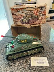 Taiyo Vintage Tin Battery Operated M-4 Tank Perfectly Working W/box. See Video