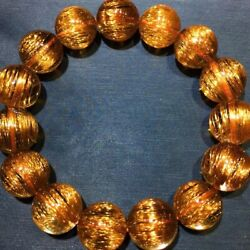15.4mm Natural Copper Rutilated Quartz Crystal Round Beads Bracelet Aaaa