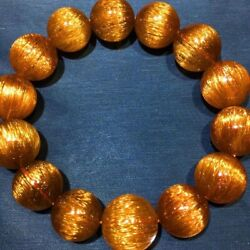 16.6mm Natural Copper Rutilated Quartz Crystal Round Beads Bracelet Aaaa